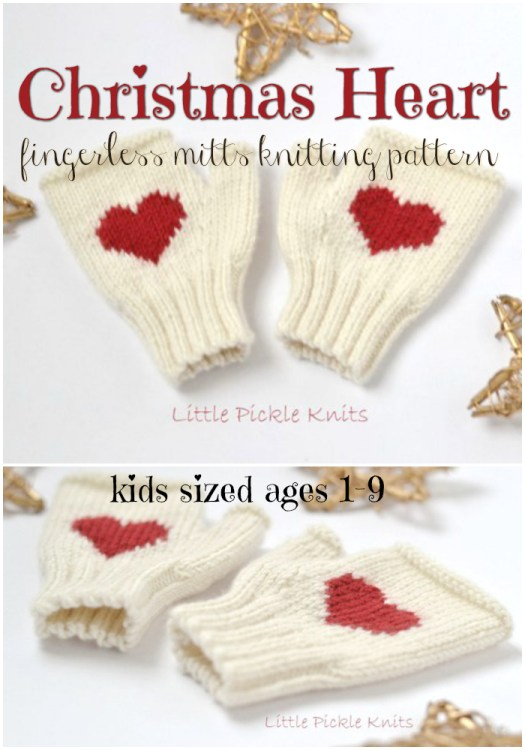 Christmas Heart Fingerless Mitts Knitting Pattern for kids ages 1-9. What a sweet little pair of fingerless gloves to make up as a gift for a little one! How adorable would these on a little girl for a Christmas photoshoot! #knittingpattern #knit #knitting #yarn #crafts #pattern #Christmas #kids