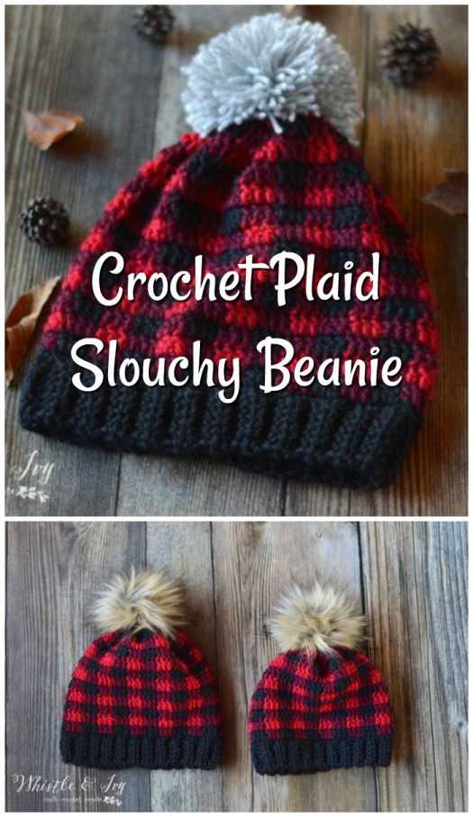 Super cute slouchy crochet plaid beanie pattern! What a fun pattern and excellent instructions to work this plaid pattern in crochet!