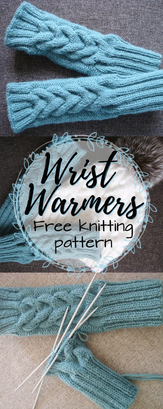 Gorgeous cable knit wrist warmers. Nice and thick and cosy to keep your hands warm while you knit or work on the computer! #freepattern #knitting #knit #pattern #fingerlessgloves #fingerlessmitts #wristwarmers #craftevangelist