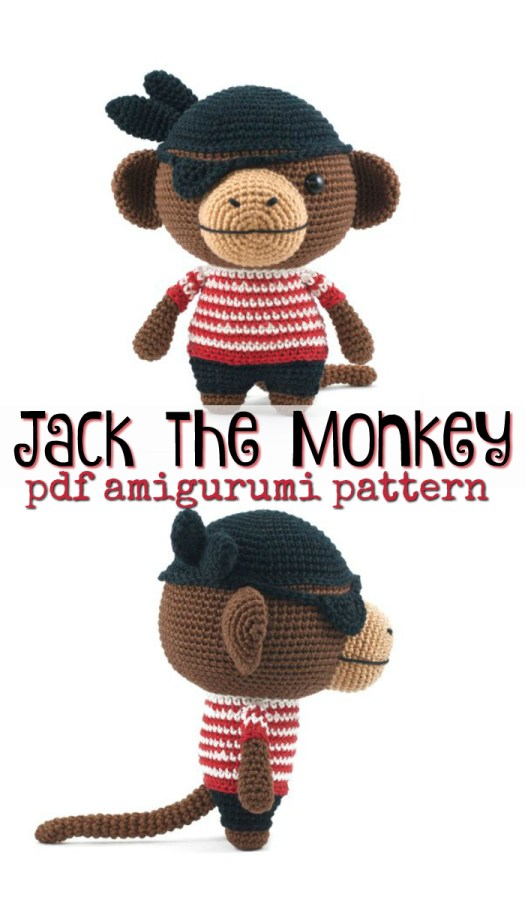 Jack the Monkey Pirate! What a fun crocheted monkey amigurumi pattern! All dressed up for halloween! Makes a fun handmade gift for any child! I love this pattern! #crochet #pattern #amigurumi #handmadetoys #diy #crafts #yarn #stitches #craftevangelist