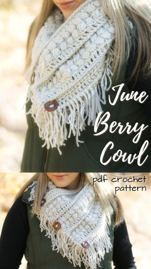 Crochet pattern for this gorgeous June Berry Cowl! I love the boho fringe on this lovely crocheted scarf pattern and the buttons are a great embellishment! #crochet #pattern #cowl #handmade #gift #giftidea #handmadegift #scarf #yarn #crafts #crochetpattern #craftevangelist