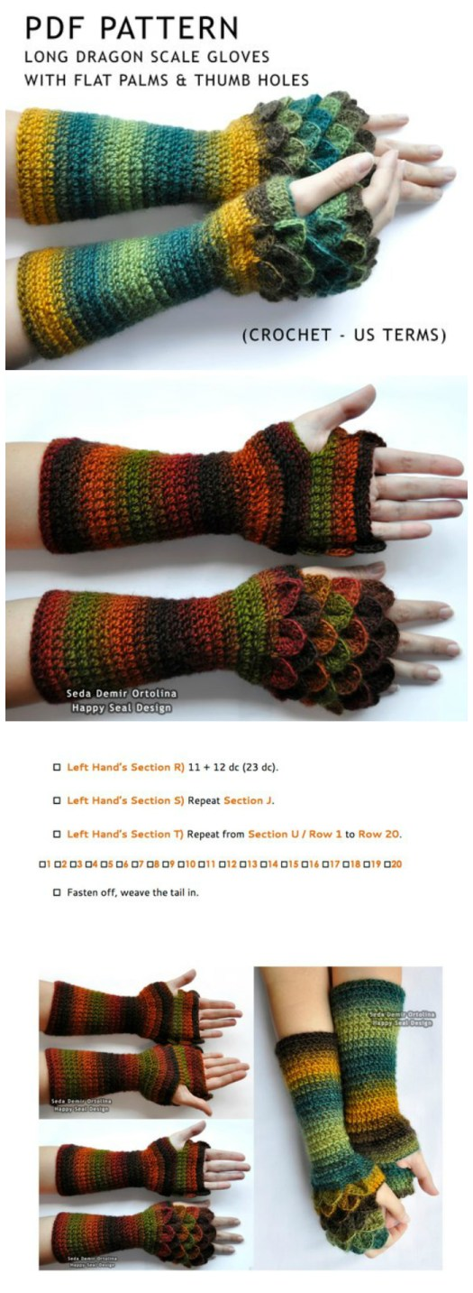 Long Dragon Scale gloves from Happy Seal Design. The dragon scale stitch is a lovely way to embellish any garment. These fingerless mitts look great made with self-striping yarn #crochet #pattern #crochetpattern #crafts #yarn #fingerlessgloves #fingerlessmitts #wristwarmers #dragonscale