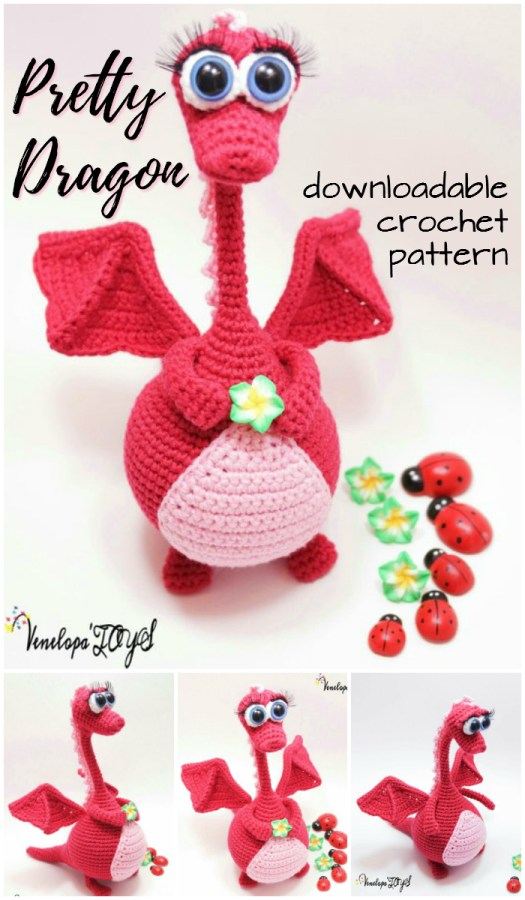 What a sweet pretty dragon amigurumi crochet pattern! I love patterns for handmade toys! Check out this awesome pattern! #crochet #pattern #yarn #crafts #handmade #stuffies #handmadetoys #crochetpattern #amigurumi