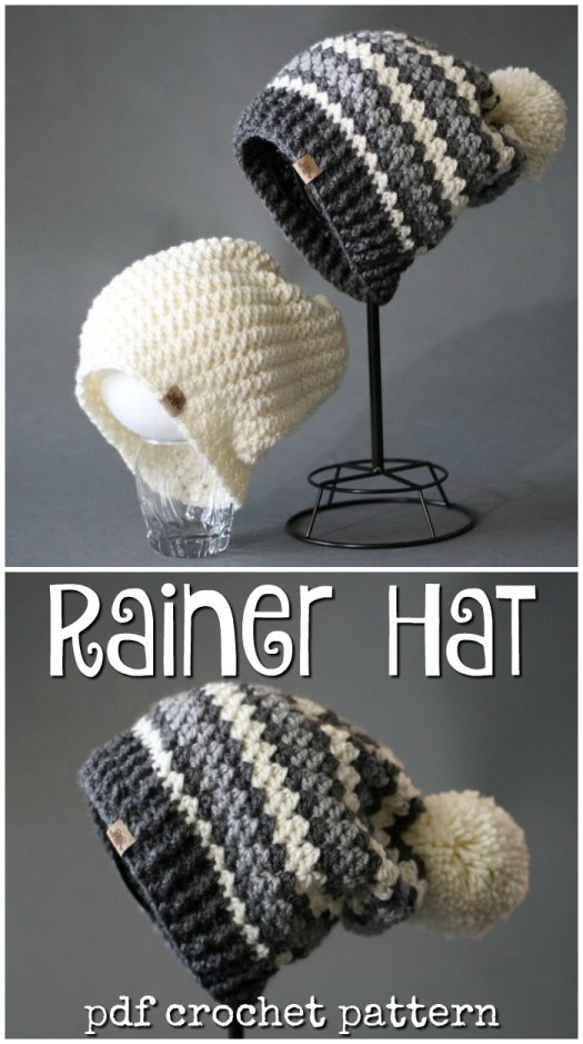 Rainer beanie (or toque as we call them in Canada). Love this striped slouchy winter hat with a big pompom on top! #crochet #pattern #craftevangelist #etsyfind #yarn #crafts #diy