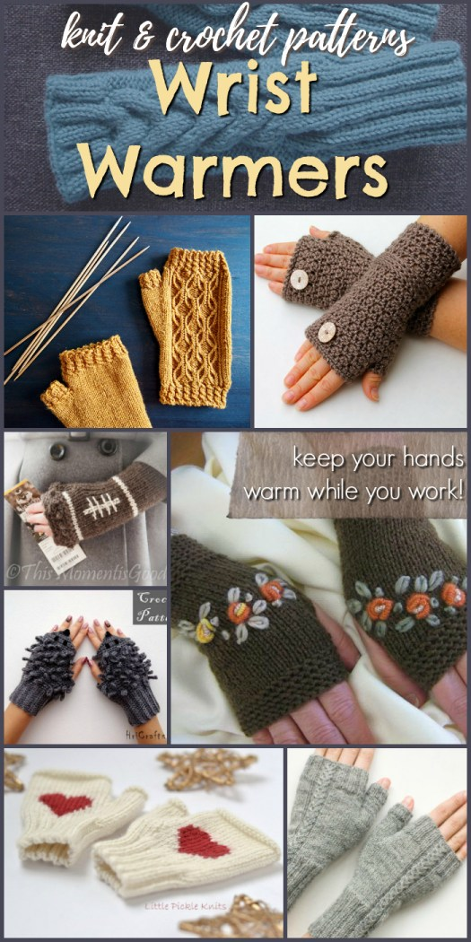 Lovely collection of gorgeous wrist warmer knitting and crochet patterns for fingerless gloves. Fingerless mitts are perfect for keeping your hands warm while you work! #knit #crochet #yarn #crafts #fingerlessgloves #mittens #wristwarmers #patterns #etsy #craftevangelist