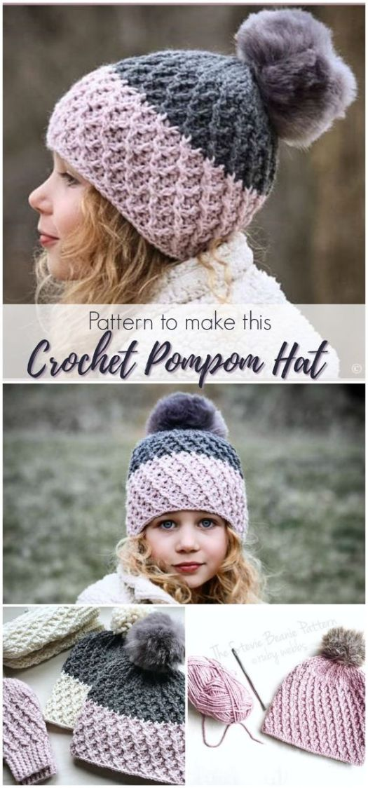 I love this adorable pompom hat! The Stevie Hat is CROCHETED! and would make a perfect gift for Christmas! Get crocheting! #crochet #crochetpattern #pattern #crafts #yarn #beanie #hat #toque #winterhat #pompom #handmade #handmadegifts #giftideas #christmas #craftevangelist