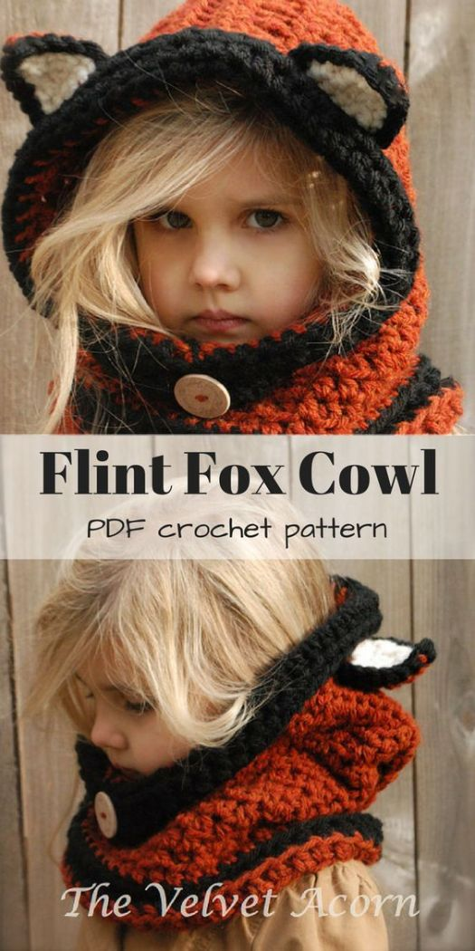 What an adorable cowl pattern with a fox theme! Love this cozy looking hat and scarf crochet pattern combination! Looks like a great gift for a gorgeous little girl! #crochet #pattern #handmade #gifts #diy #crafts #yarn #craftevangelist #velvetacorn