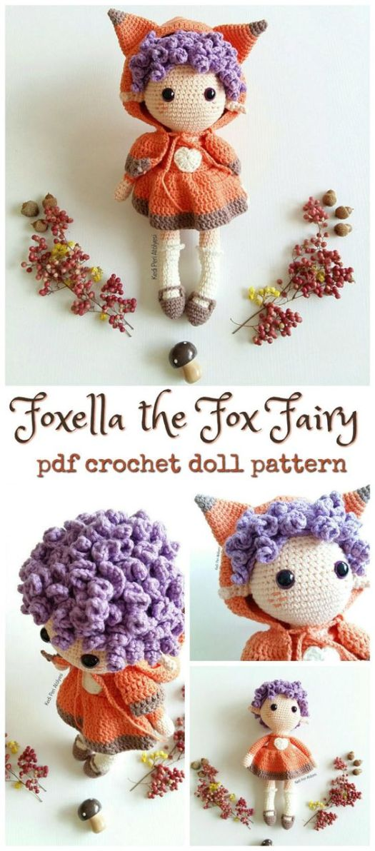 Cute little Foxella the Fox Fairy pdf crochet pattern for this amigurumi doll with fox sweater! What a great toy pattern to make as a handmade gift for a little girl! Gorgeous! #crafts #crochet #yarn #pattern #amigurumi #foxes #crochetpattern #fairy #handmade #diy #craftevangelist