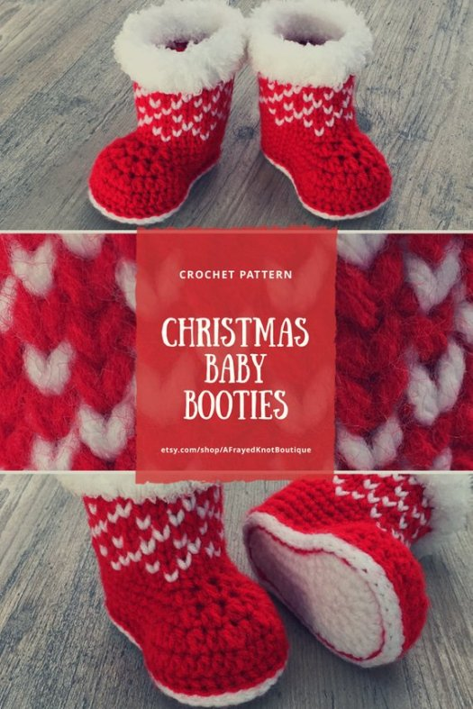 Cute Christmas baby booties! Perfect to complete baby's Christmas outfit! Adorable fuzzy top! #crochet #pattern #crochetpattern #booties #slippers #baby #handmadegifts #handmadegiftideas #handmade #crafts #yarn #babygifts