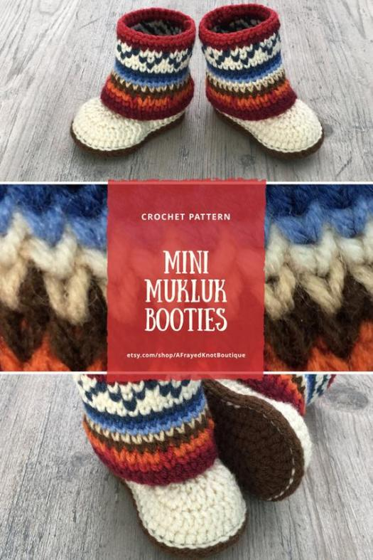 Gorgeous crochet pattern for these lovely mini mukluk booties! Check them out! Amazing gift idea for a new baby! #crochet #pattern #booties #slippers #baby #crochetpattern #handmadegifts #handmadegiftideas #handmade #crafts #yarn #babygifts #christmasgifts