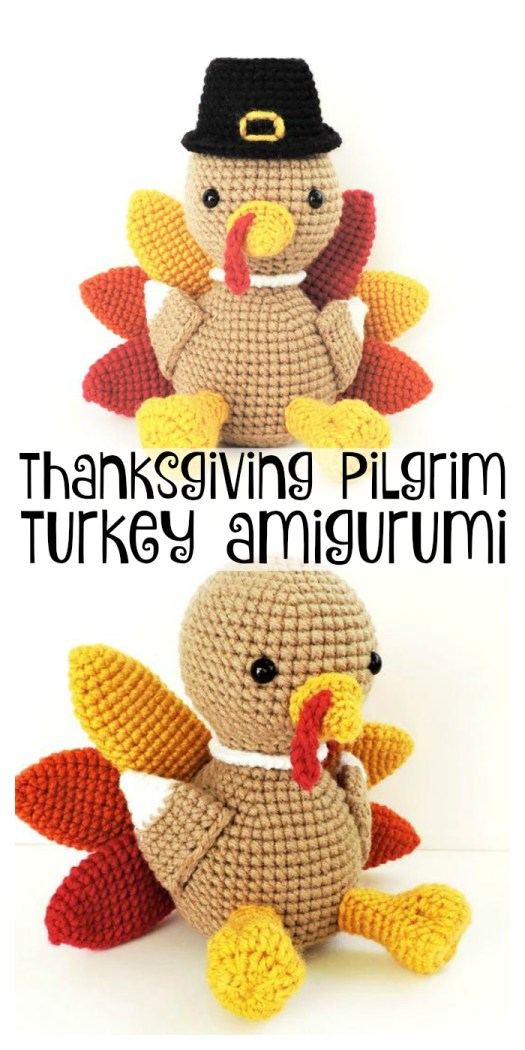What an adorable little stuffed pilgrim turkey amigurumi crochet pattern! Perfect thanksgiving handmade decor idea! #crochet #pattern #yarn #crafts #thanksgiving #holiday #amigurumi