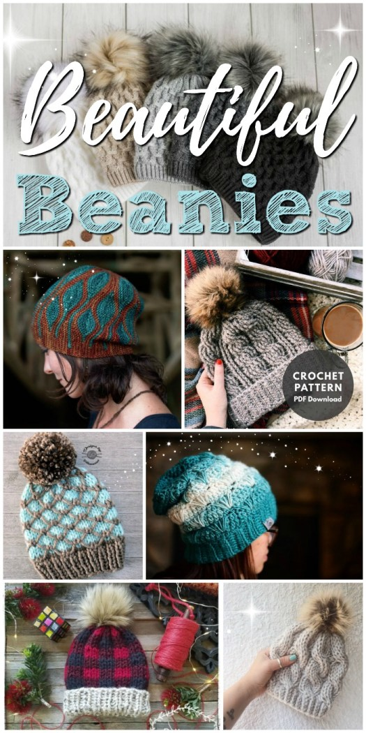 Such a pretty collection of winter hat patterns to knit and crochet (even a couple you can just order if you don't knit or crochet)! #beanie #winterhat #toque #crochet #knit #patterns #yarn #crafts #craftevangelist