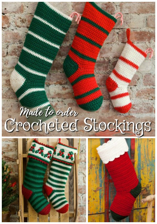 Love these simple crocheted stockings. Made to order. Makes a great family gift! #crocheted #stockings #handmade #handmadegifts #giftideas #family #stockings #christmas #holidays #craftevangelist