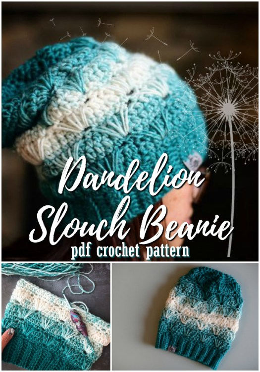 Dandelion slouch crocheted winter hat pattern. Love this slouchy beanie pattern with this stitch pattern! Looks adorable! #crochet #hat #pattern #toque #beanie #winterhat #christmas #handmadegiftideas #yarn #crafts #craftevangelist