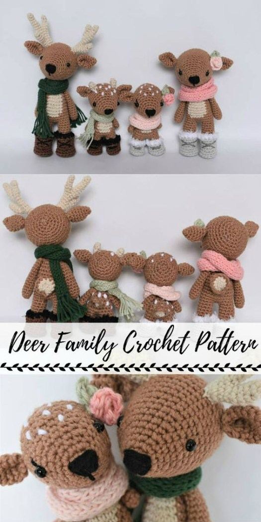 Sweet little deer family crochet amigurumi pattern bundle! Love these adorable little deer! They would make great handmade holiday decor! Lovely gift idea! #crochet #pattern #amigurumi #christmas #holiday #crafts #yarn #handmade #giftidea #craftevangelist