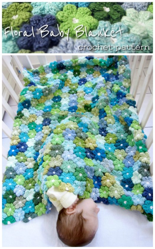 Pretty floral baby blanket crochet pattern! I love all these little flowers pieced together to make such a sweet little afghan! #crochet #pattern #crafts #yarn #blanket #babyblanket #afghan #throw #craftevangelist