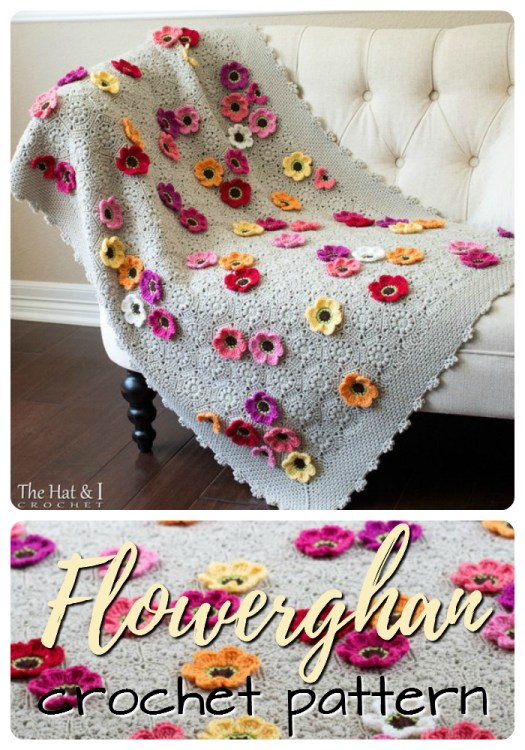 Gorgeous flower embellished crocheted throw blanket, perfect for a baby's bedroom, all the way up to adult! I love the detail on the edging! #yarn #blankets #crochet #afghan #baby #babyblanket #crafts #pattern #craftevangelist