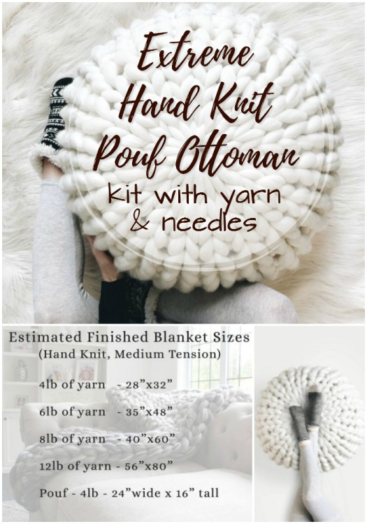 Make your own extreme hand knit pouf ottoman with this kit including big yarn and giant knitting needles. Make your own trendy decor! #knitting #pattern #kit #crafts #yarn #craftevangelist