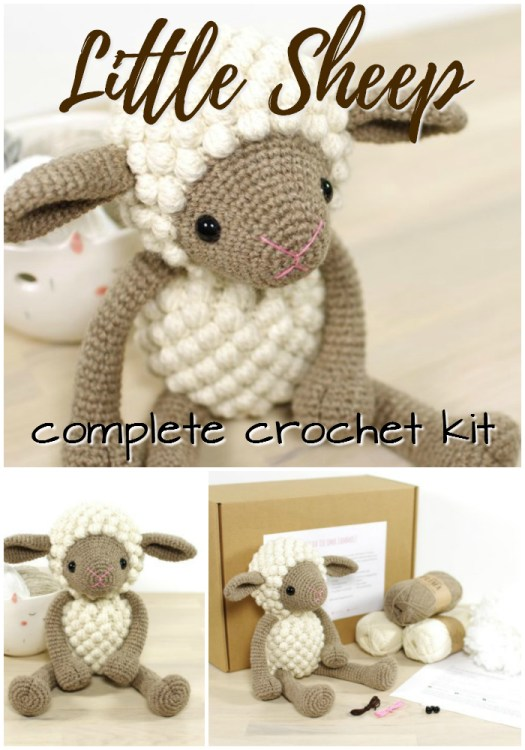 Adorable crochet kit for this sweet little sheep amigurumi stuffed toy. Perfect little project to work on over Christmas break! #amigurumi #crochet #pattern #kit #stuffedtoy #yarn #crafts #craftevangelist