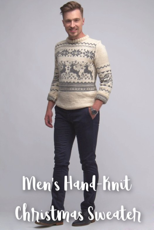 Christmas sweater for the handsome man in your life. Love this handmade winter sweater with the deer fair isle knitting pattern Made to order so order yours soon! #knit #handknit #men #sweater #giftsforment #giftideas #christmas #holiday #sweater #craftevangelist