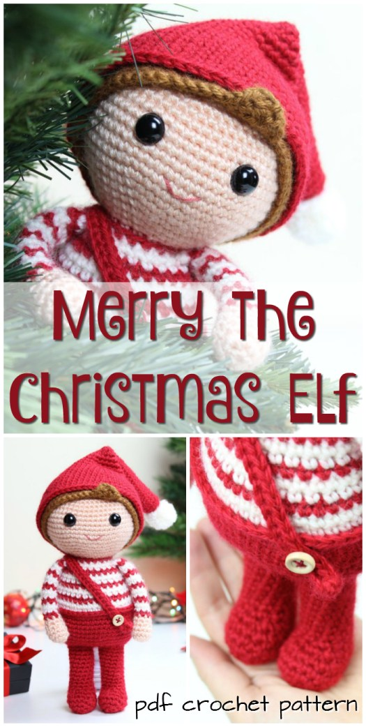 Sweet little amigurumi Christmas elf crochet pattern! Lovely little stuffy to make for the kids! #crochet #patterns #amigurumi #holiday #christmas #stuffies #toys #handmade #gift #ideas #yarn #crafts #craftevangelist