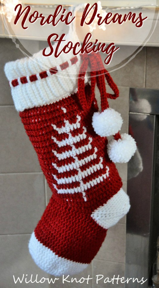 This unique crocheted stocking pattern with nordic inspired Christmas tree looks like an easy crochet pattern for a beginner! Perfect Christmas gift! #crochet #pattern #christmas #stocking #yarn #crafts #craftevangelist