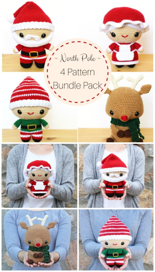 Adorable amigurumi crocheted Christmas characters. 4 great patterns including Santa, Mrs Claus, Rudolf the Reindeer and little elf doll! #crochet #patterns #amigurumi #stuffies #handmade #dolls #christmas #crafts #yarn #craftevangelist