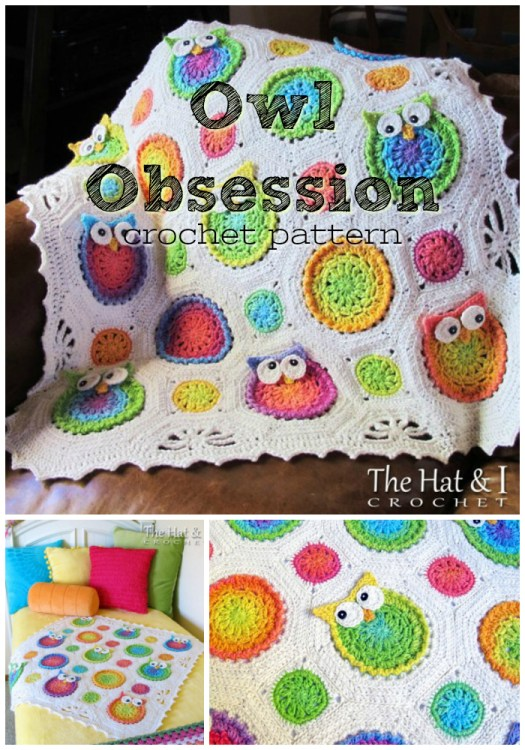 I'm obsessed with this adorable owl obsession crocheted blanket pattern! So much fun for baby or a little kid! #yarn #crafts #crochet #blanket #babyblanket #afghan #throw #pattern #craftevangelist