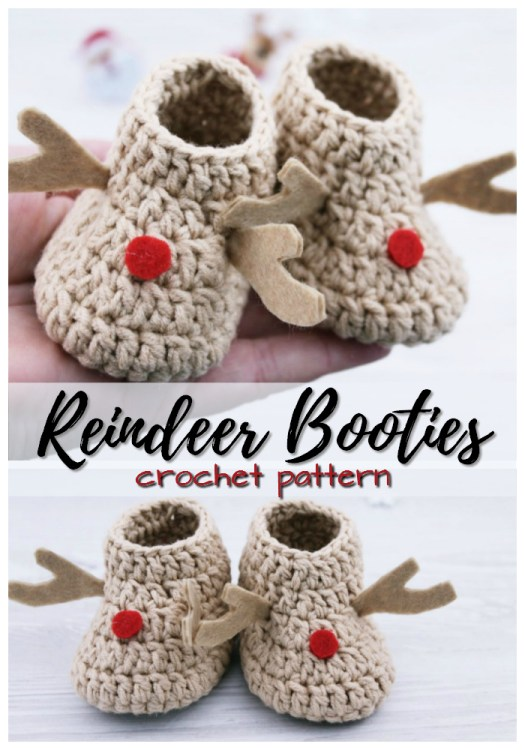 Super adorable reindeer baby booties would make a perfect handmade Christmas gift for a new baby! #crochet #pattern #Christmas #crafts #yarn #slippers #booties #baby #handmade #craftevangelist
