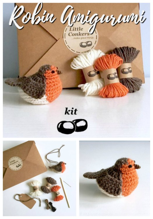 Sweet little amigurumi crochet kit for an adorable robin bird. Perfect first crochet project, easy for a beginner crocheter! Love this adorable little bird stuffed toy, would make an adorable decoration! #crochet #amigurumi #beginner #pattern #kit #crafts #yarn #easy #putabirdonit #craftevangelist