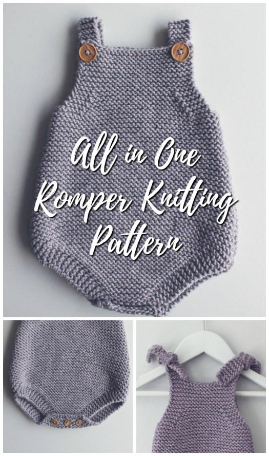 Lovely all in one romper knitting pattern. Great pattern for a beginner or a more experiences knitter. Perfect baby gift! #knit #knitting #pattern #handmadegift #baby #onesie #romper #yarn #crafts #craftevangelist