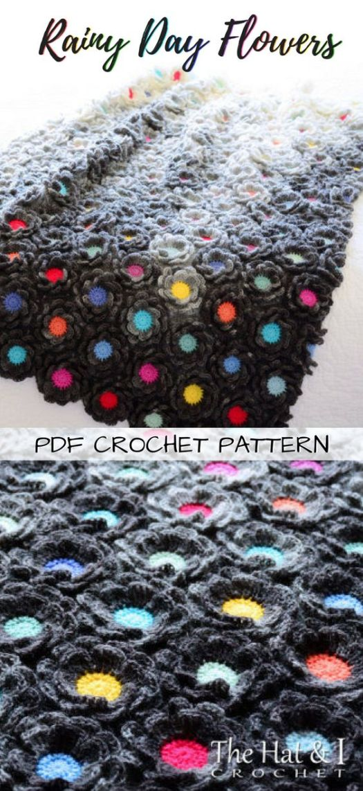 Love these gloomy grey flowers with pops of colour crocheted afghan baby blanket pattern! Perfect project to work on the go! Great handmade baby gift idea! #crochet #pattern #blanket #babyblanket #afghan #throw #yarn #crafts #craftevangelist