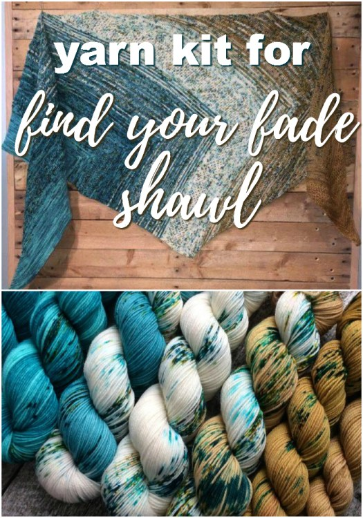 "Love the colourway in this fantastic yarn kit to make a ""find your fade"" shawl... pattern available on ravelry. This yarn looks lovely! Great gift idea! #yarn #findyourfade #shawl #yarnkit #knitting #giftsforknitters #crafts #craftevangelist"