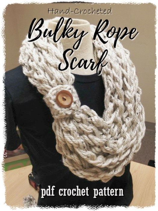 Super quick hand-crochet bulky rope scarf crochet pattern. Crochet you can make with your hands! This would work up super quickly for a perfect last minute handmade gift! #crochet #pattern #scarf #cowl #handmade #gift #ideas #infinityscarf #yarn #crafts #craftevangelist