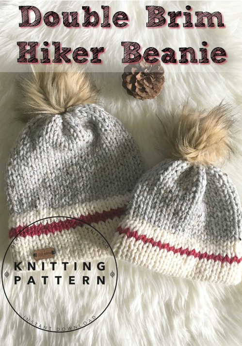 Love this knitting pattern for a Double Brim Hiker Beanie! Would be perfect for outdoor winter family pictures! #knit #knitting #pattern #beanie #toque #hat #doublebrim #craftevangelist