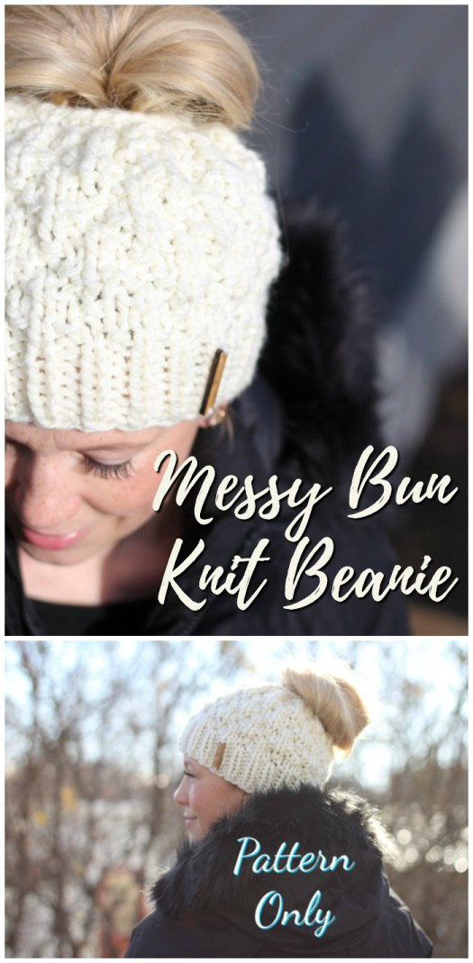 Messy Bun Beanie knitting pattern knits up quickly for a quick handmade gift idea! These are so popular right now! Perfect for that messy bun style. #knitting #pattern #quickknits #handmadegiftideas #yarn #crafts #hat #beanie #toque #ponytailbeanie #christmas #handmade #craftevangelist