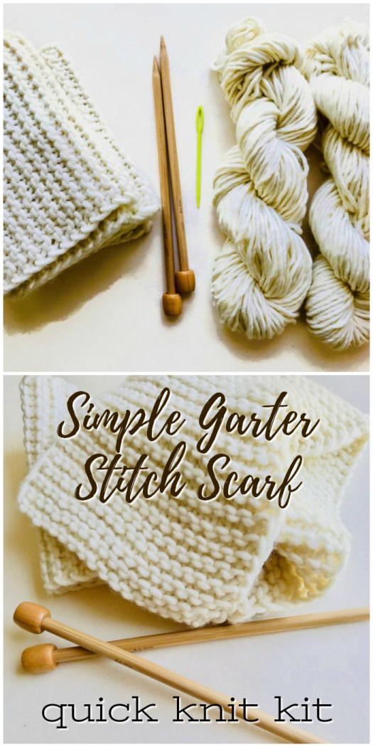 Simple Garter Stitch Scarf knitting kit. Great gift idea to give to a new knitter or someone who wants to learn! Quick knit for a fast gift! #knitting #pattern #scarf #knit #garterstitch #yarn #crafts #diy #handmadegifts #diygifts #craftevangelist