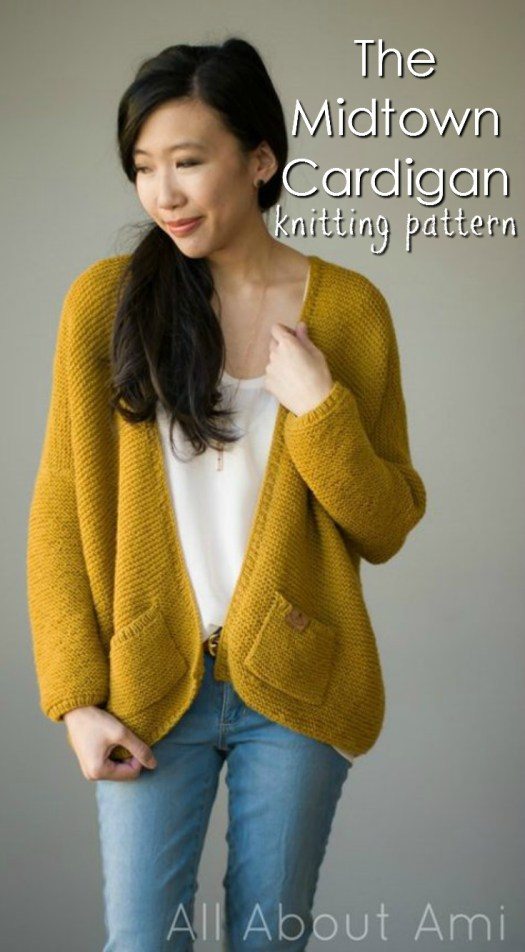 The Midtown Cardigan knitting pattern! Super good deal on this pattern! Love this mustard yellow colour! #knitting #pattern #knit #sweater #cardigan #midtown #allaboutami #yarn #crafts #craftevangelist