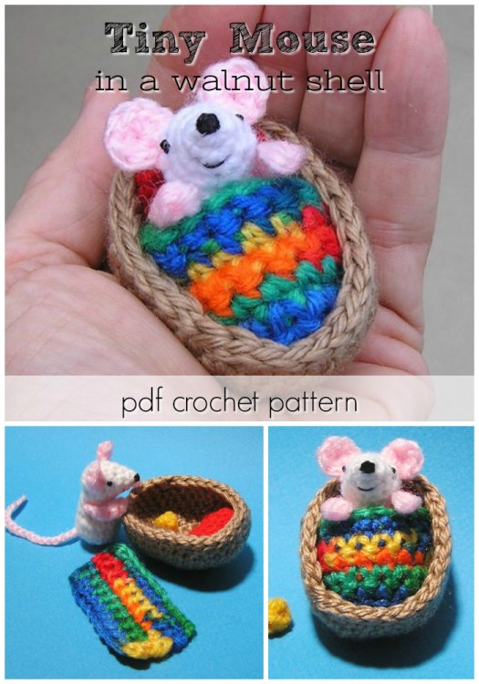 What a sweet tiny little mouse in a walnut shell amigurumi crochet pattern! Love his colourful blanket here! #crochet #pattern #tiny #amigurumi #yarn #crafts #small #handmadegifts #craftevangelist