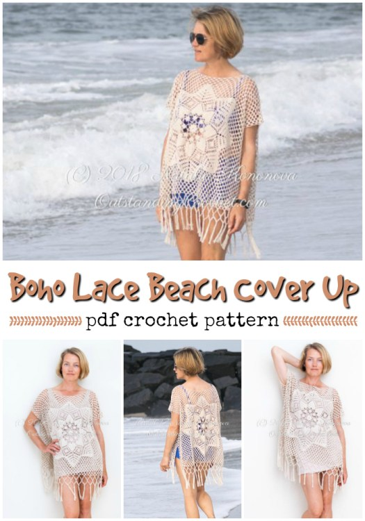 Oversized boho lace beach cover up crochet pattern for this lovely loose tunic! Perfect for a quick walk on the beach or visit to the snack shack. #crochet #beachwear #pattern #crochetpattern #beach #diy #yarn #crafts #craftevangelist #etsy
