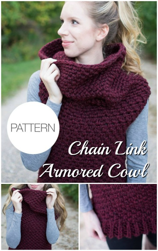 Love this Cozy Cowl neck vest knitting pattern: Chain Link Armored Cowl pattern to knit. #knitting #knit #pattern #knittingpattern #knityourownclothes #knitvest #knitcowl #yarn #crafts #diy #craftevangelist