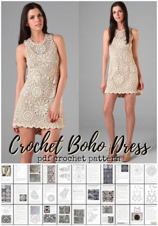 Beautiful crochet dress pattern! I love this! I so need one of these! This would be so versatile with a little slip dress underneath! Gorgeous! #crochet #pattern #crochetpattern #crochetdress #crochetdresspattern #boho #lace #crochetlace #diy #yarn #crafts #craftevangelist #etsy