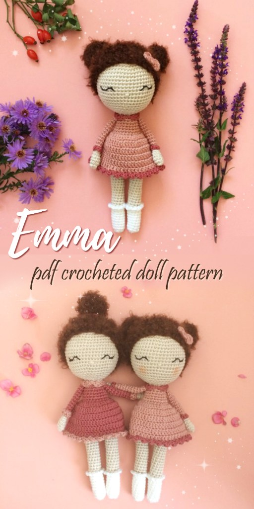 What a lovely new doll pattern from Manuska! Emma the crocheted amigurumi doll! I love her embroidered eyes and all the pink! Gorgeous! #crochet #pattern #amigurumi #crochetpattern #stuffedtoypattern #handmadegifts #handmade #yarn #crafts #craftevangelist