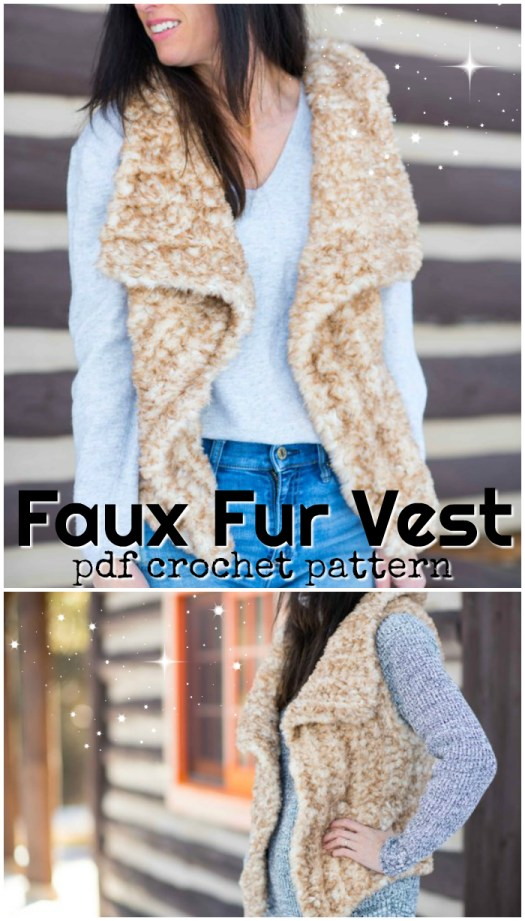 What a fun faux fur vest crochet pattern! Made with Lion Brand Go For Faux yarn! So cozy! I need to make one of these! #crochet #pattern #crochetpattern #yarn #crochetforwomen #crochetclothes #vest #crochetvest #fauxfur #goforfaux #lionbrand #diy #crafts #diyclothes