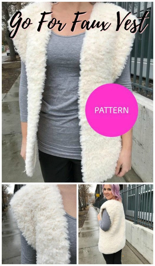 Go For Faux vest knitting pattern for Lion Brand Go For Faux yarn. I need to make one of these cozy vests! #yarn #crafts #knitting #pattern #knittingpattern ##knitvest #knityourownclothes #goforfaux #fauxfur #craftevangelist