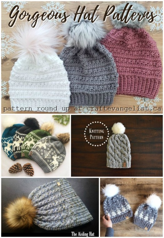 Pattern round up of seven gorgeous knit and crochet hat patterns! #knit #crochet #patterns #hats #beanies #toques #winterhats #patternroundup #fauxfur #pompoms #yarn #crafts #craftevangelist