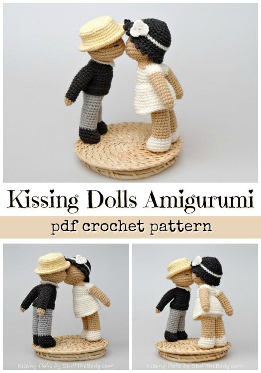 These sweet little amigurumi crocheted kissing dolls would make a great wedding cake topper for a vintage handmade look! What a fun first valentines day gift idea for newlyweds! So fun! #crochet #pattern #amigurumi #weddingdecor #caketopper #handmade #crochetpattern #amigurumipattern #kissingdolls #kiss #valentines #crafts #yarn #craftevangelist
