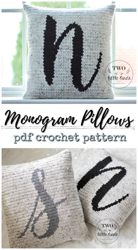 Lovely monogram pillow crochet patterns from Two Little Bird Patterns. Love these sweet patterns! Perfect handmade gift idea for newlyweds, wedding gifts, or baby gifts, baby showers. lovely handmade nursery decor #crochet #pattern #nursery #wedding #gifts #crafts #yarn #craftevangelist #pillow #cushion #monogram #personalized #handmadegiftideas #handmadegift #giftideas
