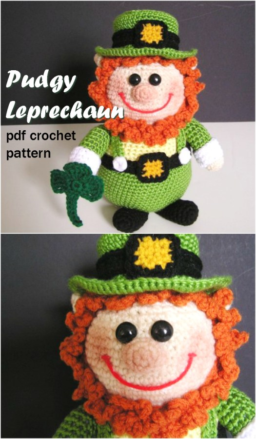 Adorable pudgy leprechaun amigurumi crochet pattern to make this sweet stuffed toy perfect for St Patrick's Day! Fun spring crochet project! #crochet #pattern #amigurumi #crochetpattern #stuffedtoypattern #handmadegifts #handmade #yarn #crafts #craftevangelist