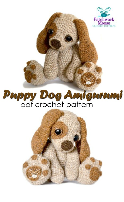 Super adorable puppy dog amigurumi crochet pattern to make this adorable puppy dog eyed puppy! Love his sad little eyes and adorable paws! #crochet #pattern #amigurumi #crochetpattern #stuffedtoypattern #handmadegifts #handmade #yarn #crafts #craftevangelist